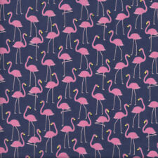 Pink Flamingos on Dark Blue Fabric FQ or Metre *New*