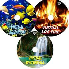 VIRTUAL WATERFALL, AQUARIUM & LOG FIRE 3 DVD VIDEO SET VIEW ON TV/PC Etc NEW