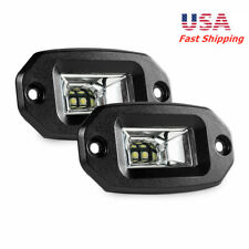 Pair 20W Offroad LED Work Light Pods Flush Mount For Jeep Car Truck RV UTV Boat