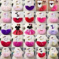 3pcs Baby Girl First Birthday Party Outfit Tutu Tuller Dress Skirt Set Headband