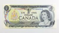 1973 Canada One Dollar BFE Prefix Unirculated Elizabeth Canadian Banknote J782