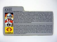 GI JOE AVAC FILE CARD Vintage Action Figure Firebat Pilot AWESOME SHAPE 1986