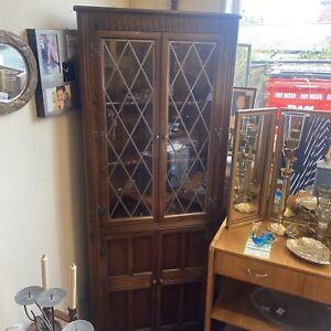 Old Charm Corner Oak Leaded Glass Cabinet Display Book Case