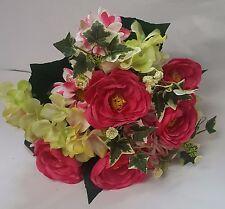 ARTIFICIAL FLOWERS MIXED BOUQUET RANUNCULUS HYDRANGEA DAISY 33CM LG PINKS