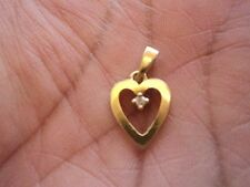 Beautiful 18K Solid Yellow Gold (750) Heart Pendant with Small Diamond