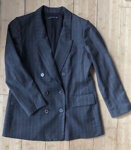 ZARA Grey Pinstripe Double Breasted Blazer Jacket Size XL 16