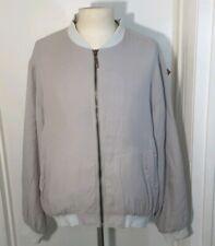 Bill Blass Pure Silk Bomber Jacket Cream Mens Size XL