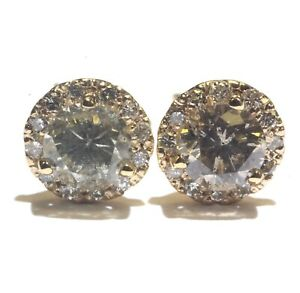 14k yellow gold 2.35ct halo round diamond stud cluster earrings vintage