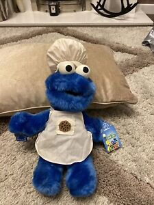 RARE VINTAGE APPLAUSE 1992 BAKING SESAME STREET COOKIE MONSTER PLUSH SOFT TOY