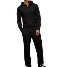 True Religion Jeans Men's Metallic Stripe Black Tracksuit Full Zip Hoodie NWT