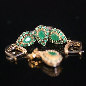 925 Sterling Silver Handmade Antique Turkish Emerald Ladies Set Ring Size 6-10