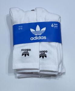 6 Pair ADIDAS Originals Men's Trefoil Crew White / Black Logo Socks Size: 6-12