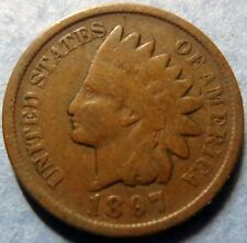 >1897 INDIAN HEAD BRONZE PENNY> 1897 INDIAN HEAD Philadelphia Mint Coin #4