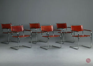 Thonet S34 Freischwinger Bauhaus Klassiker Stuhl rot braun Leder chair Vintage