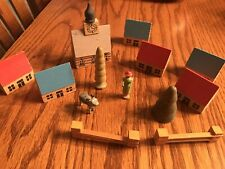 MINATURE VINTAGE WOODEN PUTZ CHRISTMAS VILLAGE HOUSES AND TREES GERMAN