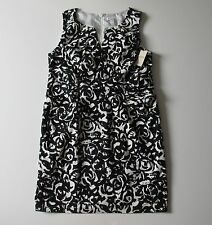 NWT Coldwater Creek Painted Canvas in Black & White Ruched Sheath Dress 18W