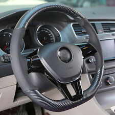 Hand sewing Top Leather Carbon Fiber Steering Wheel Cover For vw Passat B8