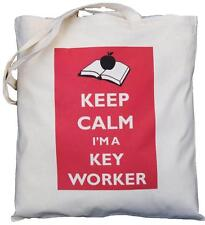 KEEP CALM I'M A KEY WORKER - NATURAL COTTON SHOULDER BAG - Tote - SCHOOL GIFT