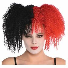 Girls Teen Clown Black and Red Crimped Wig Jesterina Harley Jester Halloween