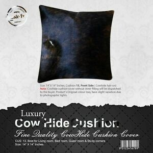 NEW COWHIDE LEATHER CUSHION COVER RUG COWHIDE HAIRON PILLOW COVER CUSHION: 13