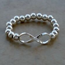 925 Sterling Silver Signs & Symbols Infinity Stretch Ring Size 6 to 9 Unisex New