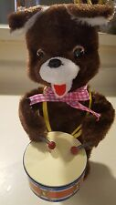 teddy battery operated drummer with box