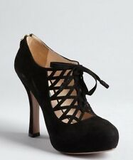 Prada Black Suede Caged Cut-Out Lace-Up Platform Ankle Booties (Suze 38.5)