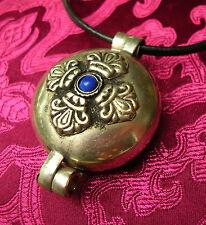 Tolles Tibet GAU Amulett mit DORJE aus NEPAL Lapislazuli Silber