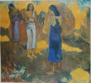 Paul Gauguin, Three Tahitians on a Yellow Background. 1899. Hermitage Collection