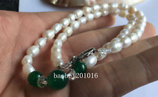Charming 7-8mm White FW Pearl + Emerald Necklace 18