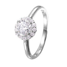 CLUSTER 925 STERLING SILVER LADIES RING W/ ROUND DIAMOND/ NEW DESIGN!! SZ 5-9