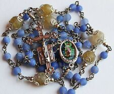 Guardian Angel, Heirloom Unbreakable Rosary Hand MadeBlue & Yellow Wire Wrapped