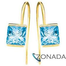 Bezel Blue Topaz 9ct 9k Solid Yellow Gold Hook Earrings 53498/BT