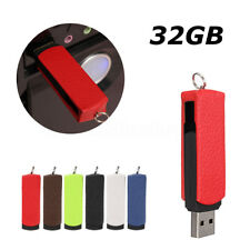 Newest 32GB 32G USB 2.0 Swivel Leather Flash Drive Memory Stick Thumb Pen U Disk