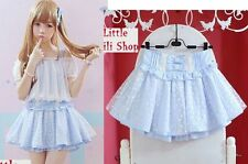 Trendy Sweet Cute Kawaii classical Gothic Lace trap Mini shorts Skirts Blue