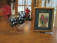 Americana Metal Rooster Planter & Farmhouse Rooster Picture Lot
