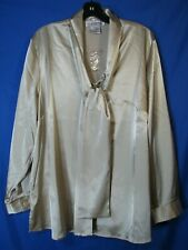 NWT SILHOUETTES Dk Gold SILKY SATIN BUTTON-UP SHIRT Top Tunic FLOWY STRETCH 18W