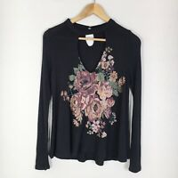Altar'd State Womens Size Small Black Waffle Knit Floral Print Choker Top
