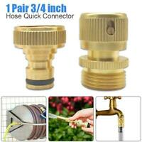 """3/4""""Garden Water Hose Quick Connector Fit Brass Male Female Connect Fitting Tool"""