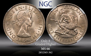 1965 NEW ZEALAND 1 SHILLING NGC MS66 ONLY 8 GRADED HIGHER