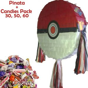 Pokeball Pinata set Kids Smash Party Pokemon poke ball pikachu candies filler UK