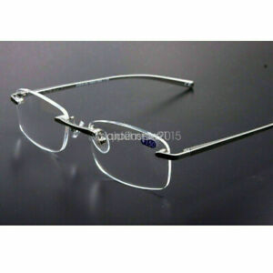 Rimless Reading Glasses Men's Gun Metal Alloy Frame +1.0 1.5 2.0 2.5 3.0 3.5