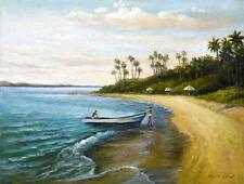 "Oil Painting ""Seaside Boat"" 12x16 in."