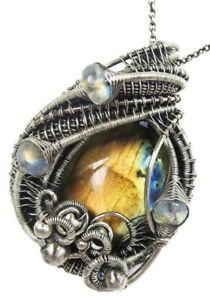 Labradorite Wire-Wrapped Pendant with Rainbow Moonstone