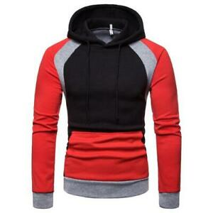 Mens Hooded Pullover Hoodies M-3XL Drawstring Outdoor Sports Casual Thick Tops B