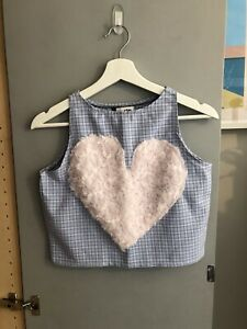 Vintage Blue Check Vest Crop Top with Fluffy Heart Motif Size UK 8