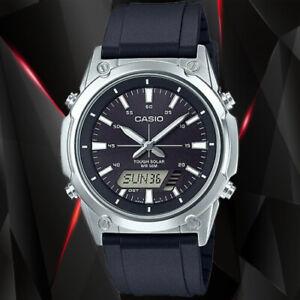 NEW Casio AMW-S820-1A Men's Tough SOLAR Watch Digital Analog BLACK Resin Band