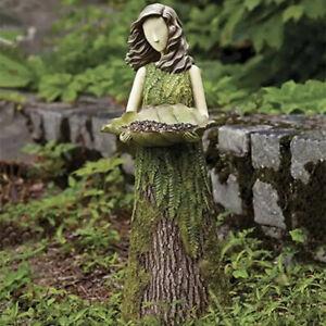 Sherwood Fern Fairy Statuary With Bird Feeder Garden Lawn Sculpture Art Ornament