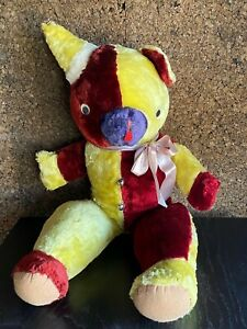 """1950s/1960s Vintage Huge Multi-Colored Plush Circus Birthday Party Bear - 30"""""""