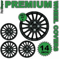 "Kappa Black 14"" WHEEL TRIMS/HUB CAPS Covers Universal SET OF 4"